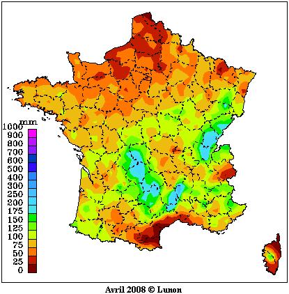 Pluviométrie mensuelle Météo-France